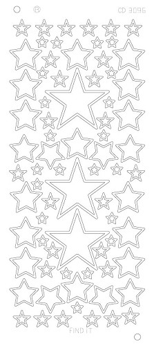 Stars various sizes Platinum - Zilver