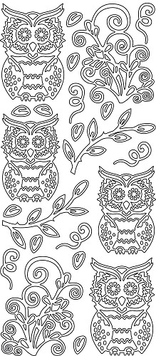 Sticker - Owls leaf - Zilver