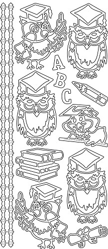 Sticker - Owls ABC - Zilver