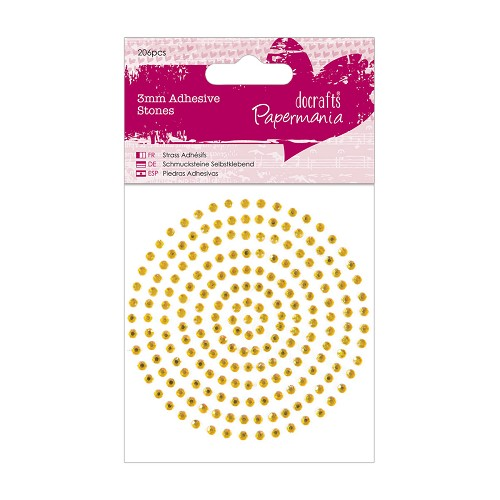 3mm Adhesive Stones (206pcs) - Gold
