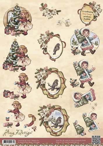 3D Knipvel - Amy Design - Vintage Christmas Collection - Kerstmeisjes