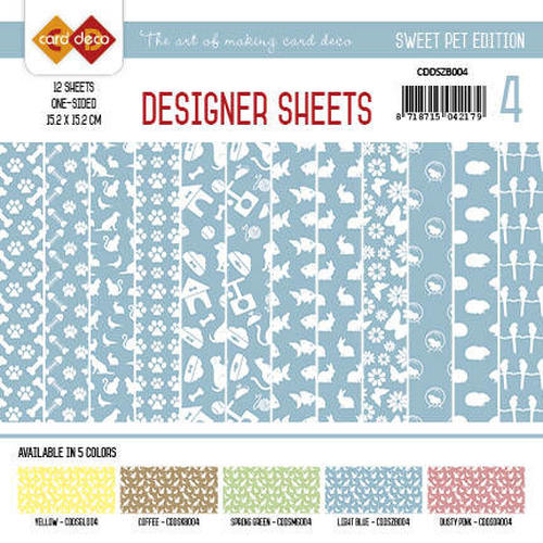 Card Deco - Designer Sheets -Sweet Pets- Zachtblauw