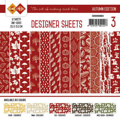 Card Deco - Designer Sheets - Autumn Colors-Rood