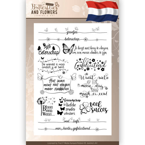 Clearstamps Tekst - Jeanines Art - Classic Butterflies and Flowers - Nederlands