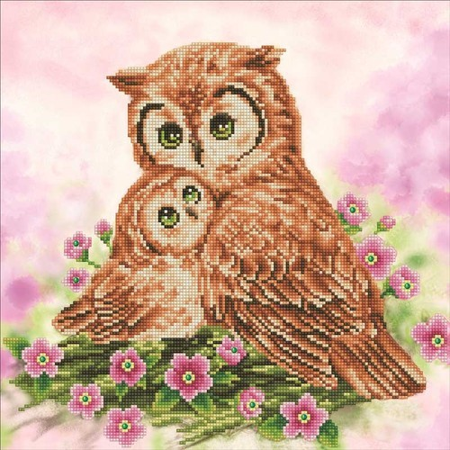 DD7.004 Diamond Dotz - 42X42cm - Mother & Baby Owl