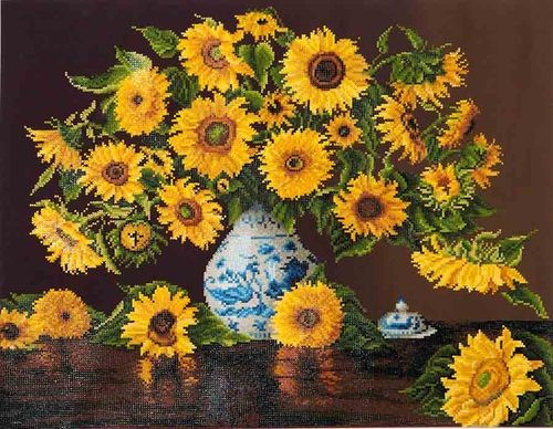 DD13.006 Diamond Dotz - 71x56cm - Sunflowers in a china vase