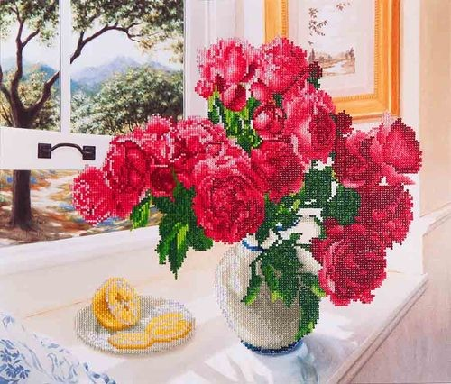 DD12.013 Diamond Dotz - 57x49cm - Roses by the Window