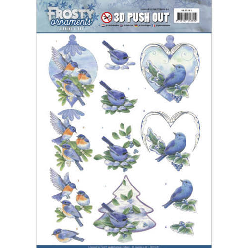3D Push Out - Jeanine's Art - Frosty Ornaments - Blue Birds