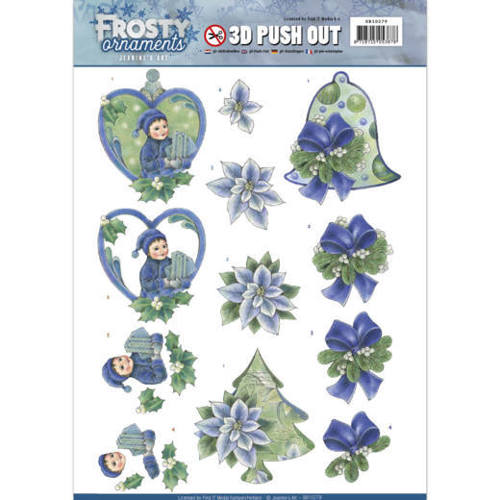 3D Push Out - Jeanine's Art - Frosty Ornaments - Green Ornaments