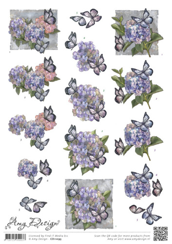 3D knipvel - Amy Design - Hortensias