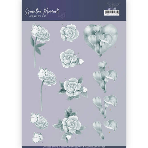 3D Cutting Sheet - Jeanine's Art - Sensitive Moments - Grey Calla Lily